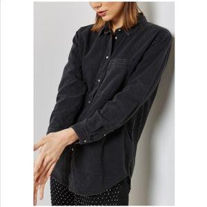 Topshop Moto Black Oversized Denim Shirt